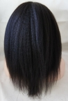 Italian yaki Chinese virgin hair U-Part  lace wigs  U-shaped bleached knots 14inch 1b