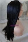 Affordable lace front with silk top human hair coarse yaki 18 inch #1b