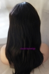 No glue full lace wigs indian remy human hair light yaki 16 inch #1b