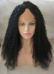 Kinky curly U-Part  lace wigs  U-shaped bleached knots 18inch #1