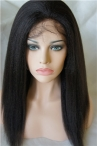 Brazilian full lace wig virgin human hair 18 inch natural color #1b italian yaki