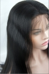 Full lace human lace wigs yaki straight 18 inches color #1b with baby hair knots bleached