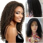 Human hair glueless with silk top wigs with baby hair indian remy hair curly 16 inch #1b