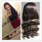 Silk TOP Full lace wigs 18 inch Body wave #2 100% human Indian Hair The Best Quality