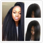 Xmas Sale glueless full lace wig Kinky Italian yaki 20 inch color #1b Indian remy hair