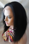 12 inch jet black color #1 Indian remy hair glueless full lace with silk top cap Italian yaki