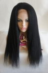 22 inch jet black color #1 Indian remy hair glueless full lace cap Italian yaki