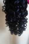 Curly wave glueless full lace wigs indian remy human hair color #1 20inch
