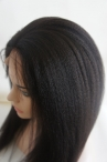 Brazilian virgin hair Italian Yaki Natural Color  Full Lace With Silk Top Wigs