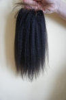 Hot selling Indian remy hair lace closure italian yaki 12inch 1b with 4*4 lace