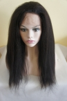 Lace front glueless wig Italian yaki 18 inch color #1b Indian remy hair