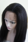 Glueless with silk top free parting full lace wig Italian yaki 18 inch color #1b Indian remy hair