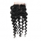 Hot Curly Lace Closure With 4*4 Lace Natural Color Brazilian Virgin Hair Middle Part