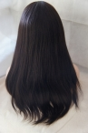 18'' #2 Coarse Yaki Straight Full Lace Wigs 100% Indian Human Hair Swiss Lace Cap