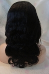 In stock silk top lace wigs body wave remy human hair 16 inch #1b