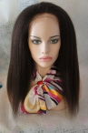 Wigs for indian women kinky straight indian remy human hair full lace wigs #2