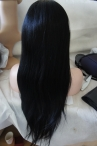 Lace front silk top wigs remy hair light Yaki human hair 20 inch #1