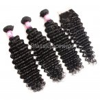 Wholesale deep wave hair wefts with 4*4 lace closure Brazilian Peruvian Malaysian virgin hair