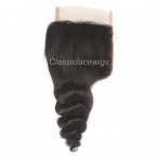 4*4 Swiss lace closure Loose wave Brazilian virgin human hair Free parting closure