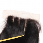 Top Quality Human Hair Indian remy Natural straight 4*4 Three part swiss lace closure