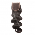 Peruvian virgin hair body wave Free part lace closure 4*4 inch swiss lace natural color
