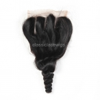 Wholesale Three parting 100% Peruvian human hair 4x4 lace closure loose wave natural color