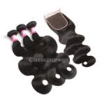 Unprocessed Brazilian Virgin Hair Body Wave Lace Closure with Bundles  4x4 Inch