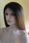 Custom light yaki ombre color  human hair wigs full lace wigs 100% Chinese virgin hair