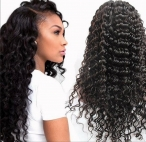 indian remy hair full lace wigs deep wave 20inch 1b