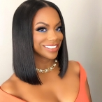 Yaki straight Bob style Brazilian virgin hair 360 lace frontal wig Heavy density