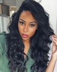 Cheap glueless full lace wigs with silk top body wave indian remy human hair 18 inch natural color